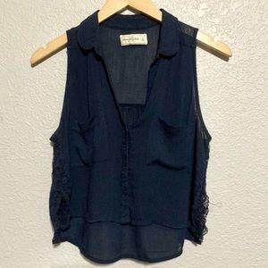Abercrombie & Fitch Blue Button Down Crop Top